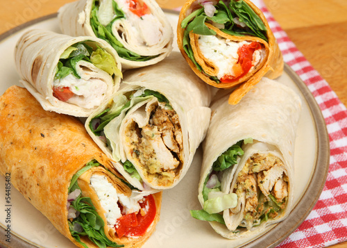 Plate of Wrap Sandwiches