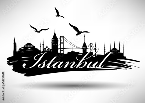 Leinwand Poster Istanbul Silhoutte Design