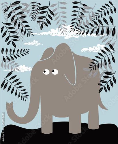 Fototapeta premium Tło z słonia i liści