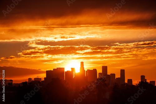 Los Angeles city skyline, sunrise