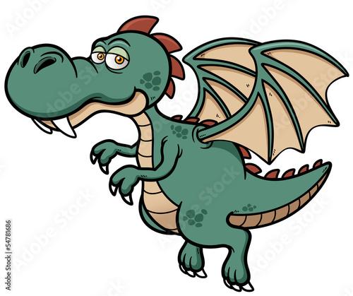 Fotografie, Obraz Vector illustration of dragon cartoon
