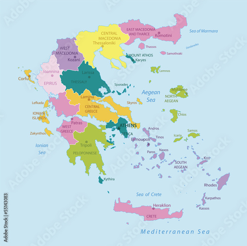 Wallpaper Mural Greece -highly detailed map.Layers used.