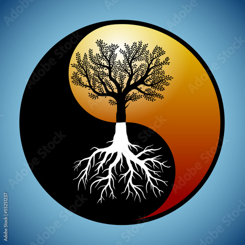 Canvas Print Tree and it's roots in yin yang symbol