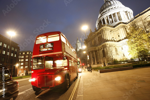 London Routemaster Bus and St Paul's Cathedral at night фототапет