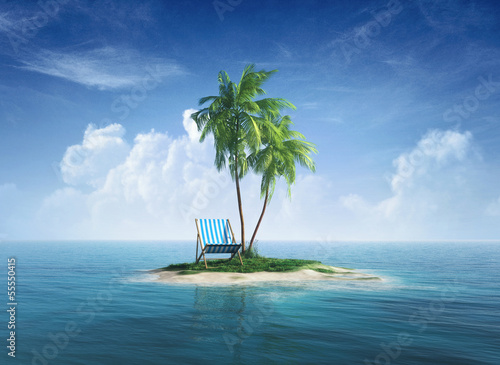 Stampa su Tela Desert tropical island with palm tree, chaise lounge.