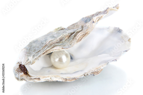 Fotografia Open oyster with pearl isolated on white