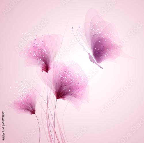 Pastelowy motyl i delikatne kwiaty