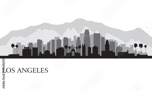 Fotografie, Obraz Los Angeles city skyline detailed silhouette