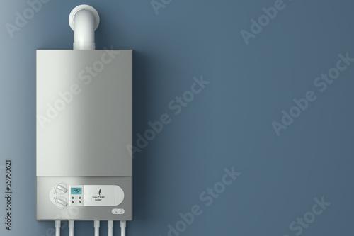 Carta da parati Home gas-fired boiler. The installation of gas equipment.