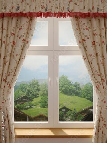 Fototapeta Okno z pięknym widokiem na wiejski krajobraz XL