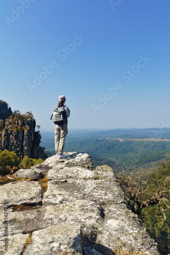 Woman tourist in Blyde river canyon, hiking in South Africa Wall mural
