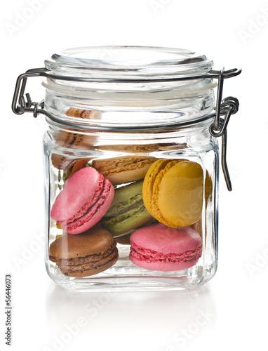 colofrul macaroons in glass jar Fototapeta