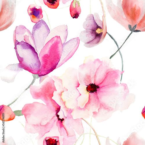 Akwarela bezszwowe wzór z różowe kwiaty