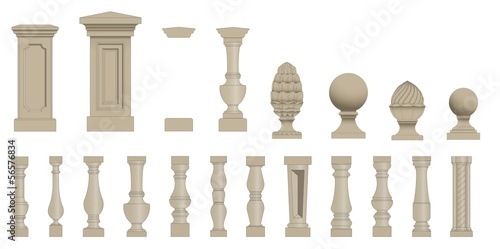 Fotomural Set  of silhouettes balusters