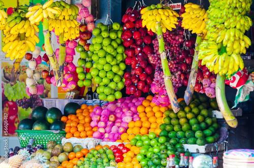 Canvas Print Various fruits at local market in Sri Lanka