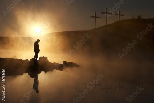 Obraz na plátně Easter Sunday Morning sunrise reflecting a prayerful moment