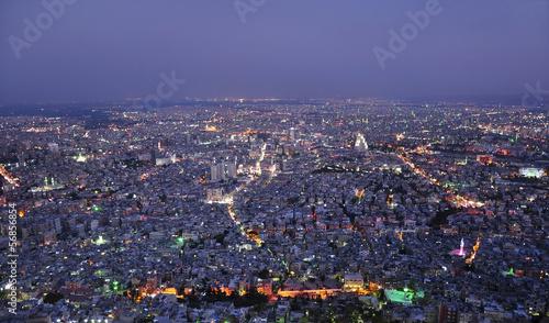 Damascus, Syria, city aerial night view