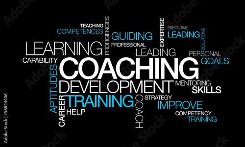 Canvas Print Coaching development training words tag cloud video illustration