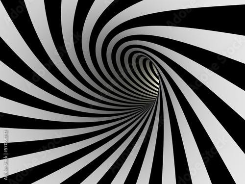 Tunnel of black and white lines