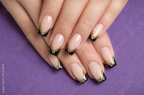 Stampa su Tela Fingernail with black french manicure