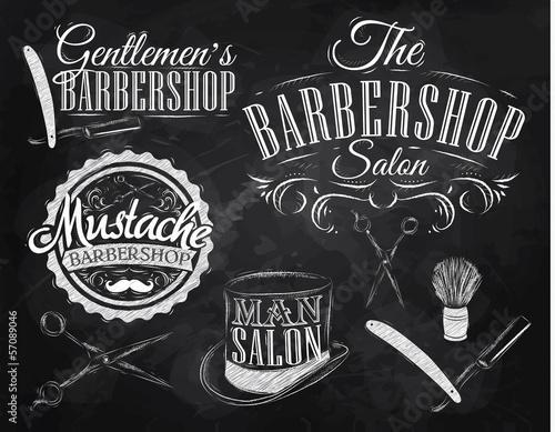 Fototapeta premium Zestaw Barbershop, nożyczki, pędzel do golenia, maszynka do golenia, cylinder, ar