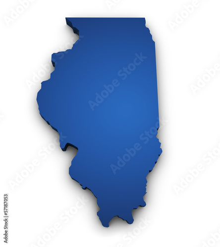 Fotografia Map Of Illinois 3d Shape