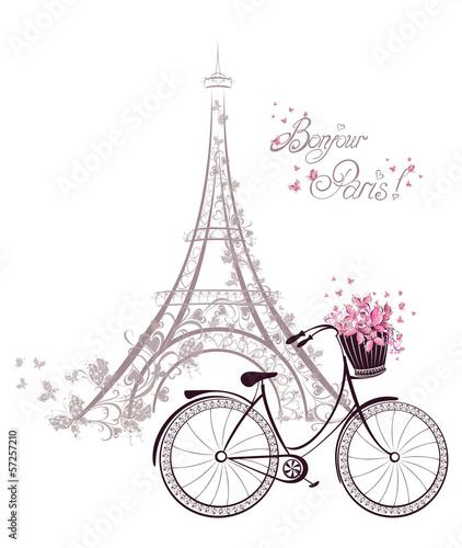 Obraz premium Bonjour Paris tekst z Wieżą Eiffla i rowerem