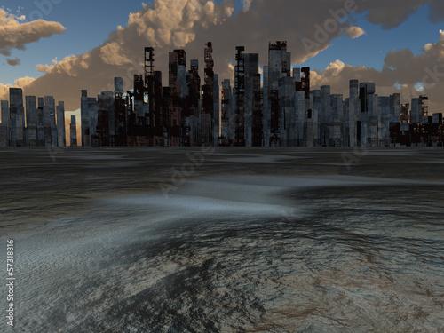Obraz na plátně Abandoned City and baked earth