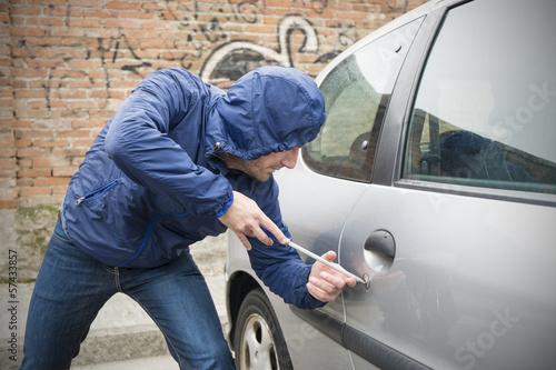 Canvas Print car thief city