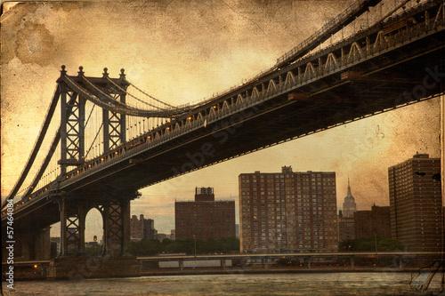 Manhattan Bridge New York City retro style with texture