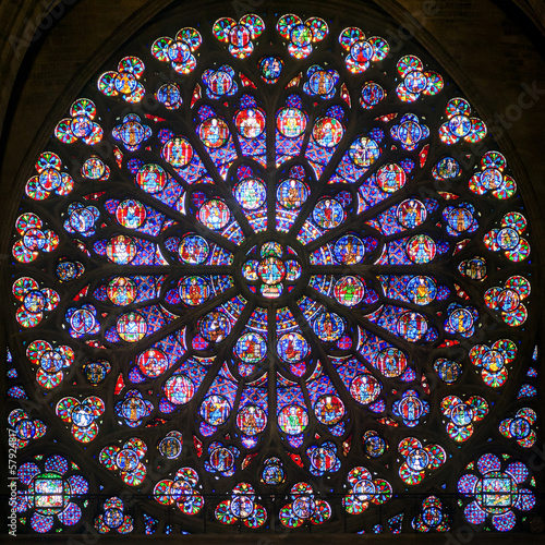 Fototapeta Rose stained glass window in cathedral of Notre Dame, Paris, France