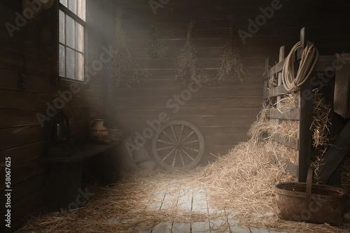 Obraz na plátně Scenery in the village barn studio