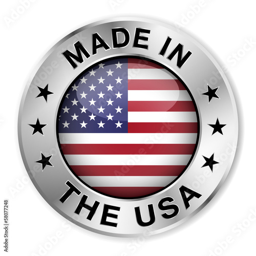 Fototapeta Made In The USA Silver Badge