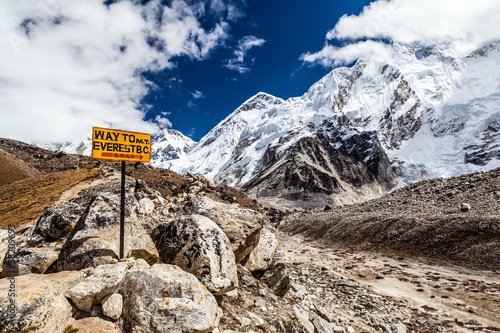 Carta da parati Mount Everest signpost