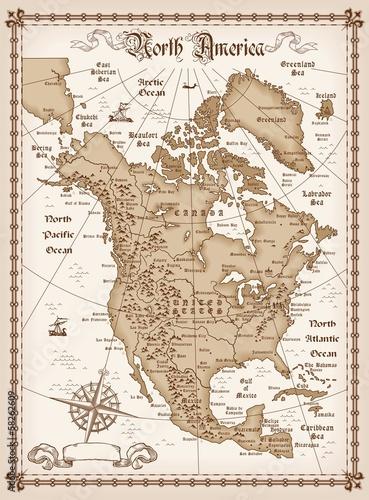 Valokuvatapetti Vintage map of North America