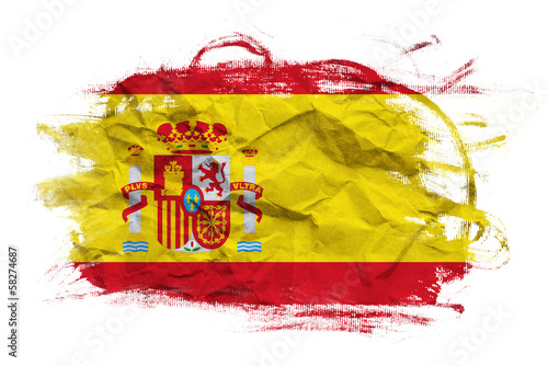 Wallpaper Mural Spain flag on Crumpled paper texture