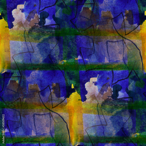 seamless blue, yellow cubism abstract art Picasso texture waterc #58509632