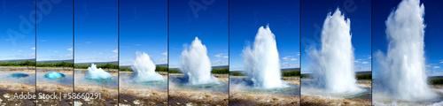Fotografija Strokkur Geyser eruption in sequence