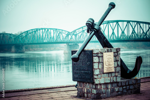 Poland,Torun famous truss bridge over Vistula river