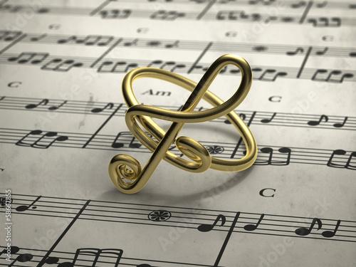 Carta da parati musical note ring with score in background