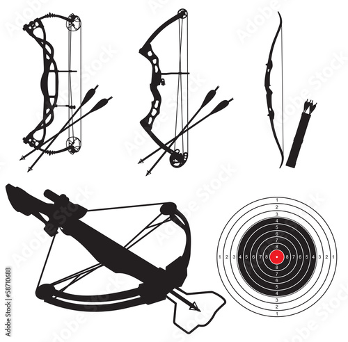 silhouettes of equipment for shooting from bow and arbalest Fototapeta
