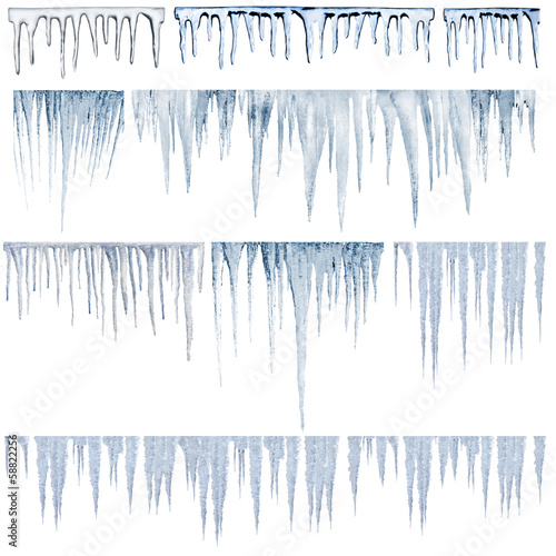 Fotografia icicles catalog of diferent and real type