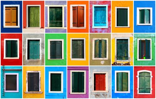 Stampa su Tela Colorful windows collage