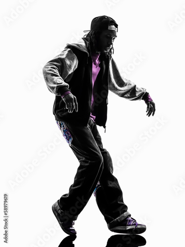 Obraz na płótnie hip hop moonwalking break dancer breakdancing young man silhouet
