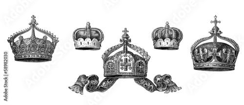Obraz na plátne 5 Various historic Royal Crowns