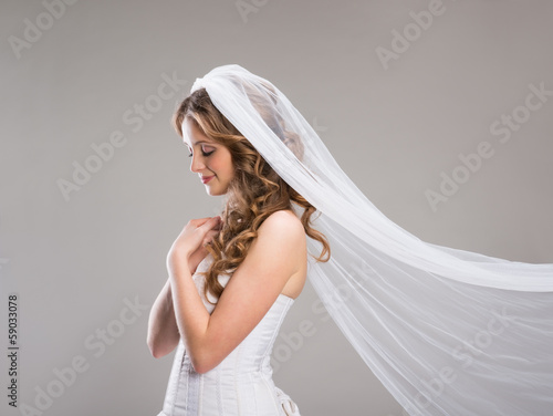 Canvas Print Beautiful Bride with veil