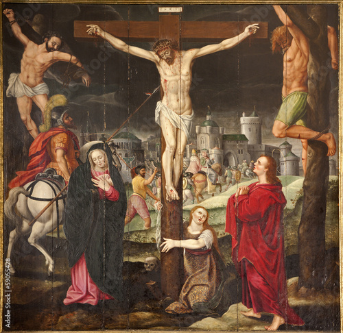 Canvas Print Gent - Crucifixion paint on the wood plate