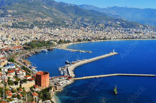 Obraz na plátně View of Alanya harbor from Alanya peninsula. Turkish Riviera