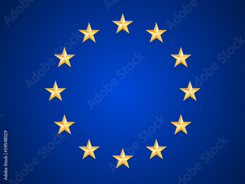 Fotografie, Obraz European Union flag with Metal Stars