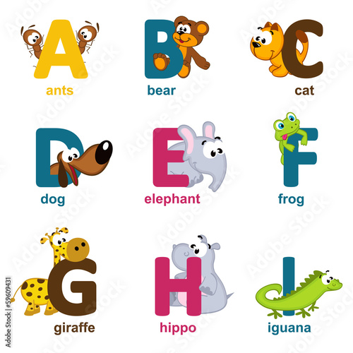 alphabet animals from A to I - vector illustration #59609431